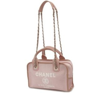 CHANEL Pink Canvas Deauville Bowling 2 Way Silver